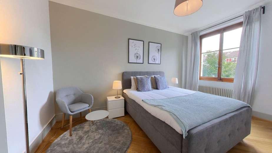 Grey double bedroom